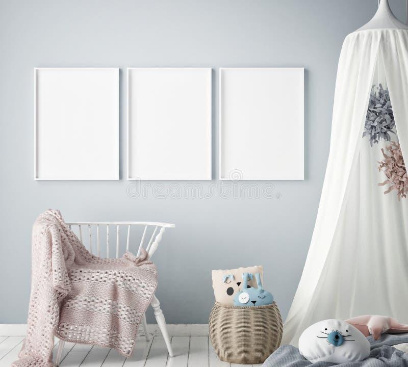 Egzamin próbny w górę plakat ramy w dziecko sypialni, scandinavian stylowy wewnętrzny tło, 3D odpłaca się royalty ilustracja