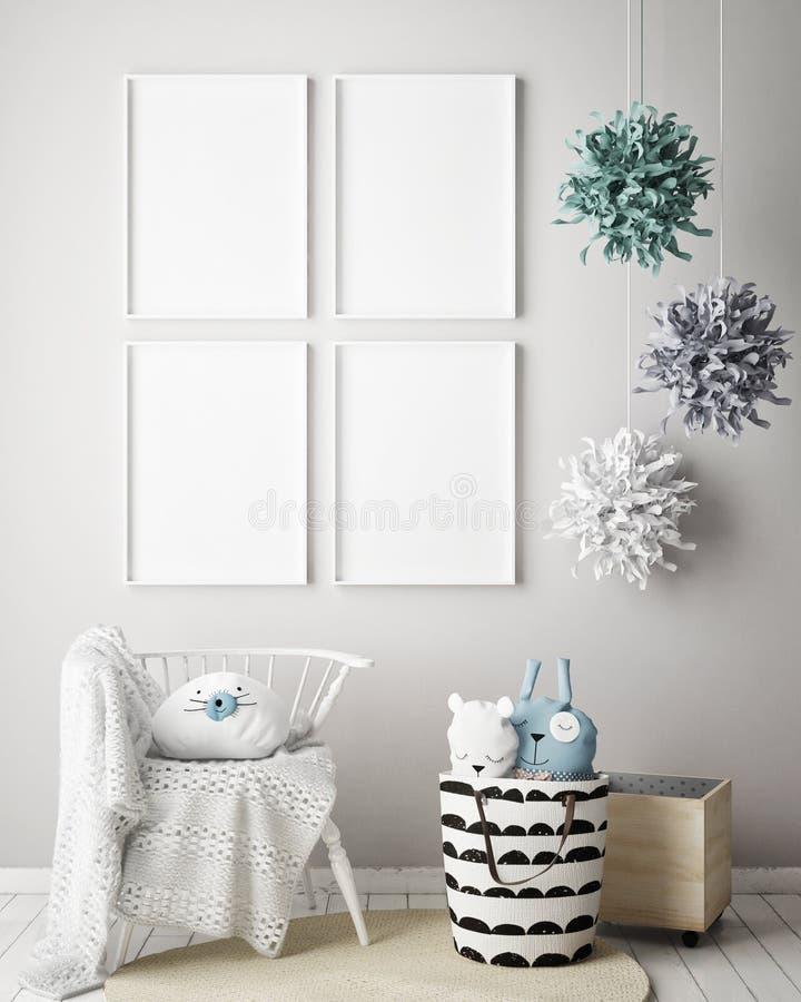 Egzamin próbny w górę plakat ramy w dziecko sypialni, scandinavian stylowy wewnętrzny tło, 3D odpłaca się ilustracja wektor