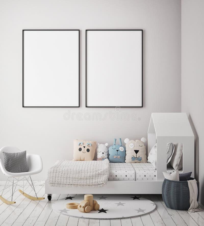 Egzamin próbny w górę plakat ramy w dziecko sypialni, scandinavian stylowy wewnętrzny tło, 3D odpłaca się ilustracji