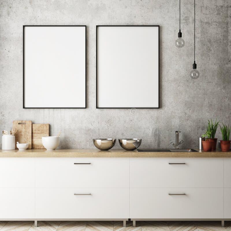 Egzamin próbny w górę plakat ramy w kuchennym wewnętrznym tle, skandynawa styl, 3D odpłaca się ilustracja wektor
