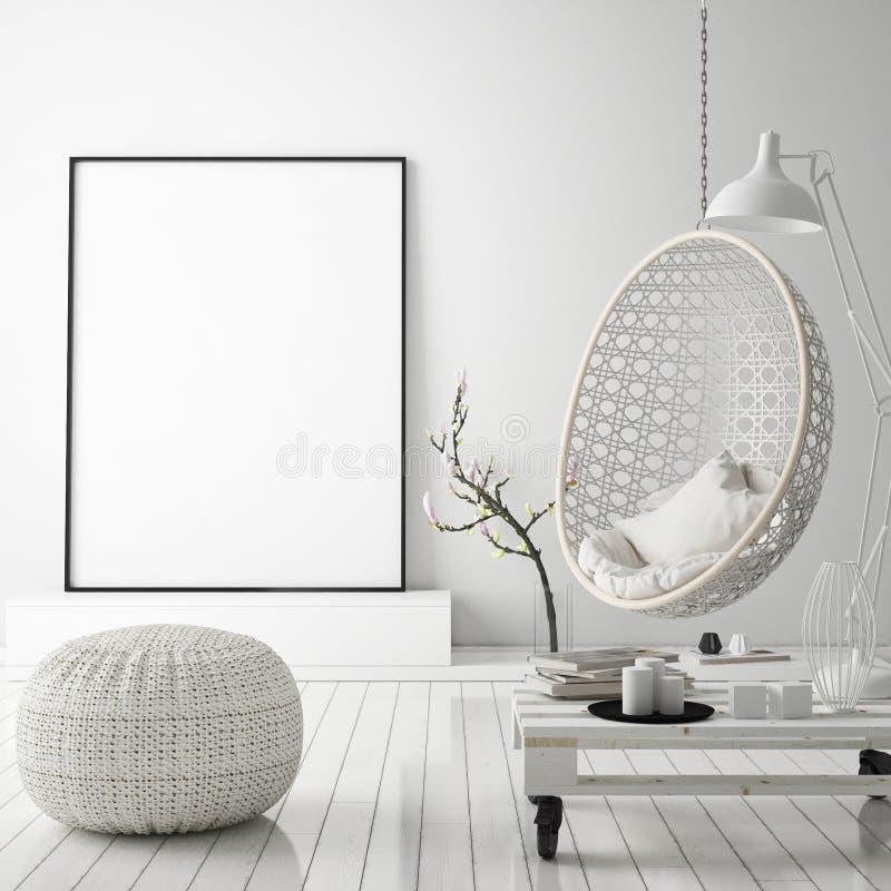 Egzamin próbny w górę plakat ramy w modnisia wewnętrznym tle, scandinavian styl, 3D odpłaca się royalty ilustracja