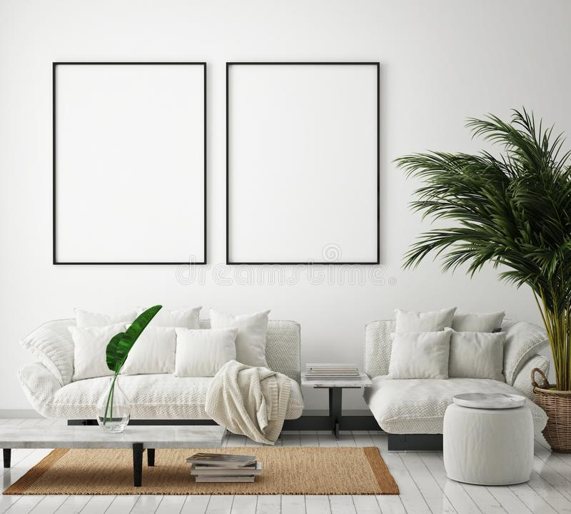 Egzamin próbny w górę plakat ramy w nowożytnym wewnętrznym tle, żywy pokój, skandynawa styl, 3D odpłaca się ilustracja wektor