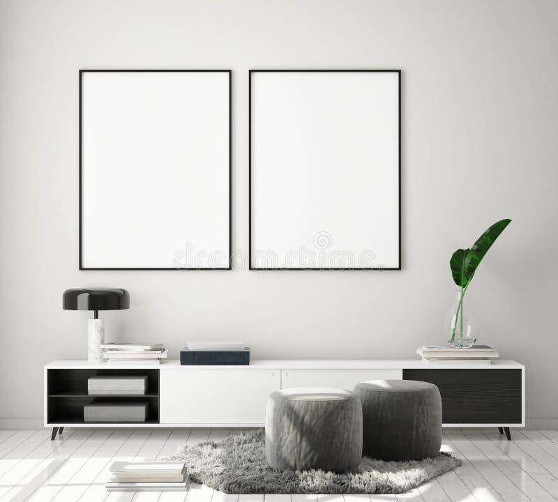 Egzamin próbny w górę plakat ramy w nowożytnym wewnętrznym tle, żywy pokój, skandynawa styl, 3D odpłaca się ilustracji