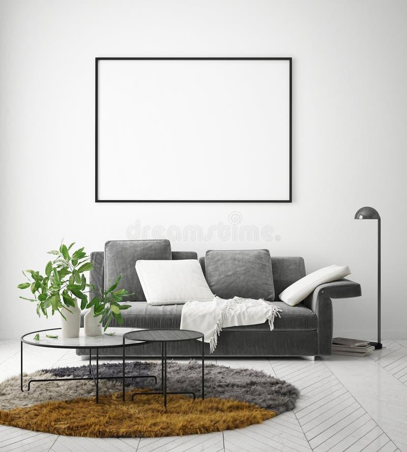 Egzamin próbny w górę plakat ramy w nowożytnym wewnętrznym tle, żywy pokój, skandynawa styl, 3D odpłaca się royalty ilustracja