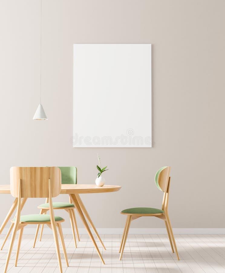 Egzamin próbny w górę plakat ramy w skandynawa stylu jadalni Minimalistyczny jadalnia projekt ilustracja 3 d ilustracji
