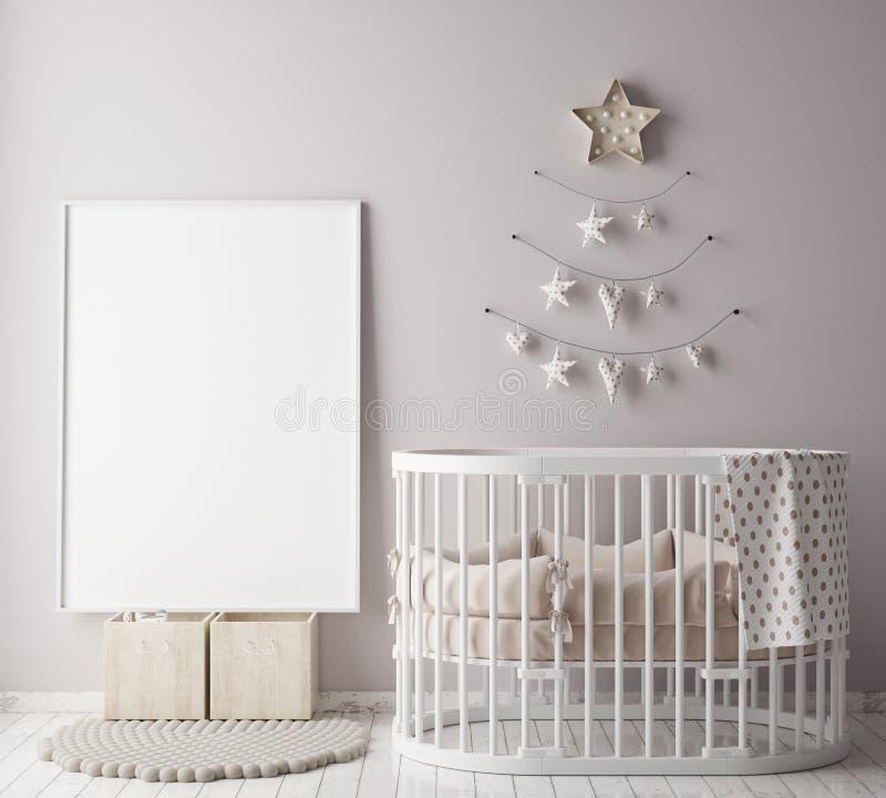 Egzamin próbny w górę plakat ramy w dziecko pokoju z christamas dekoracją, scandinavian stylowy wewnętrzny tło, royalty ilustracja