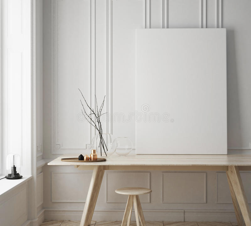 Egzamin próbny w górę plakat ramy w modnisia pokoju, scandinavian stylowy wewnętrzny tło ilustracja wektor