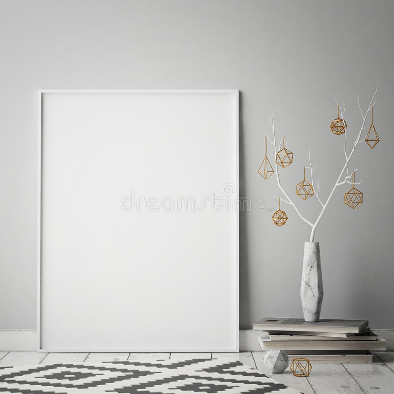 Egzamin próbny w górę plakat ramy w modnisia wewnętrznym tle, christamas dekoracja, scandinavian styl, ilustracja wektor