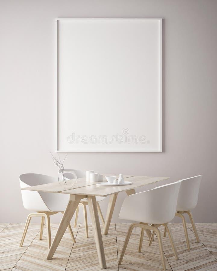 Egzamin próbny w górę plakat ramy w modnisia wewnętrznym tle, scandinavian styl, 3D odpłaca się ilustracja wektor
