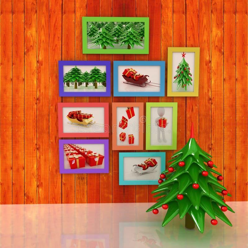 Egzamin próbny w górę plakata na drewnianej ścianie z choinką i decorati ilustracji