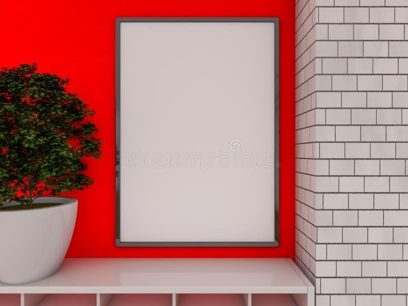 Egzamin próbny w górę plakata we wnętrzu żywego pokoju 3d obraz stock