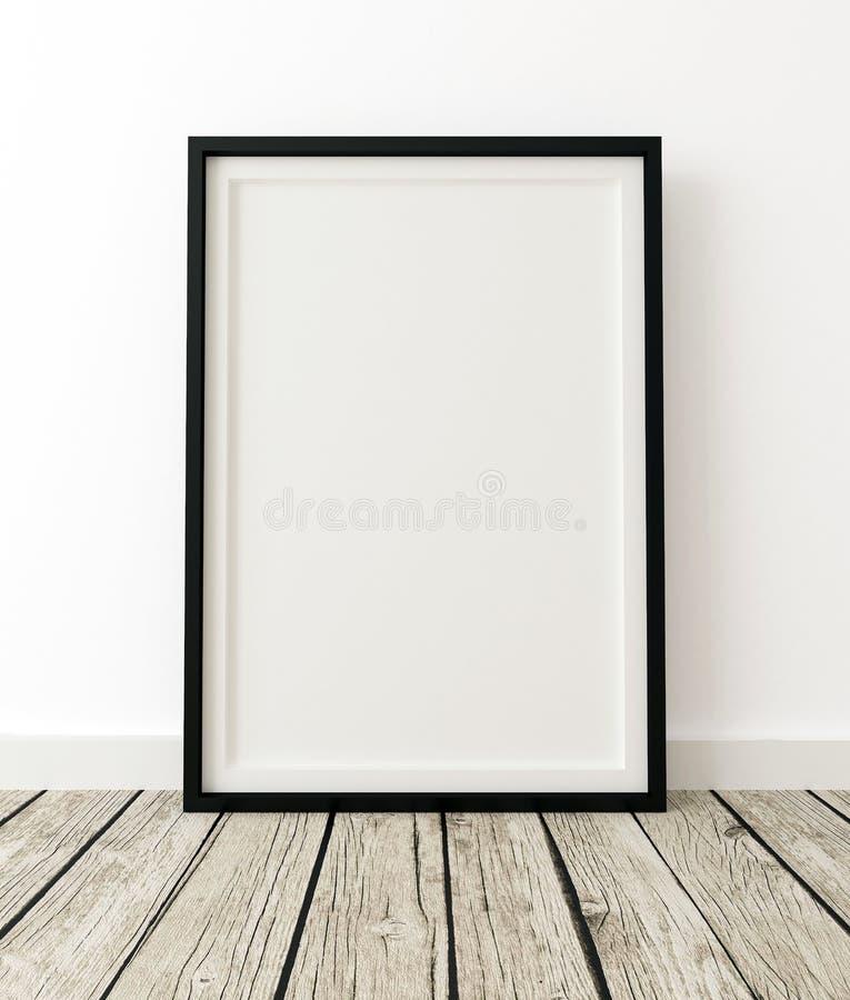 Egzamin próbny W górę Plakatowej czerni ramy w Białym wnętrzu ilustracji