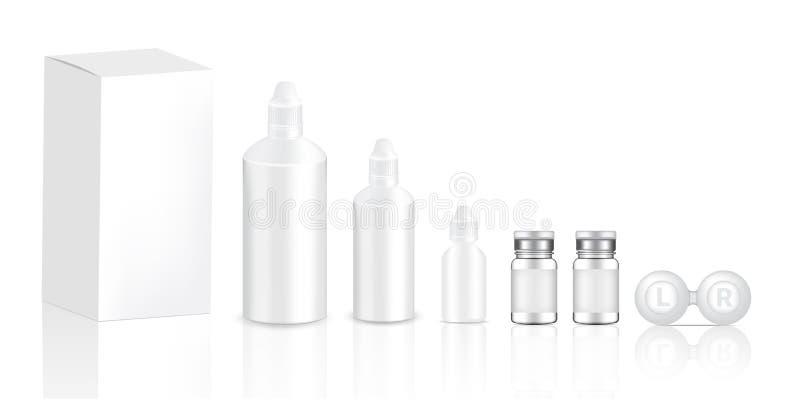 Egzamin próbny w górę Realistycznego Przejrzystego szkła kontaktowe butelek produktu, oko wkraplacza i skrzynki Z kartonu tła ilu ilustracja wektor
