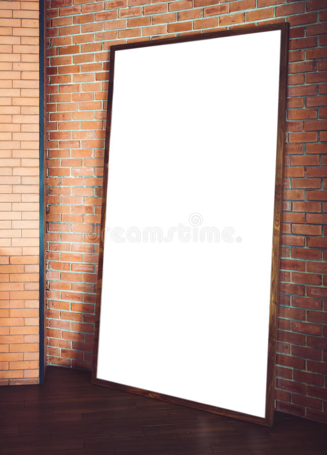 Egzamin próbny w górę sztandaru plakata ramy na Podłogowym ściana z cegieł Backgr zdjęcia stock