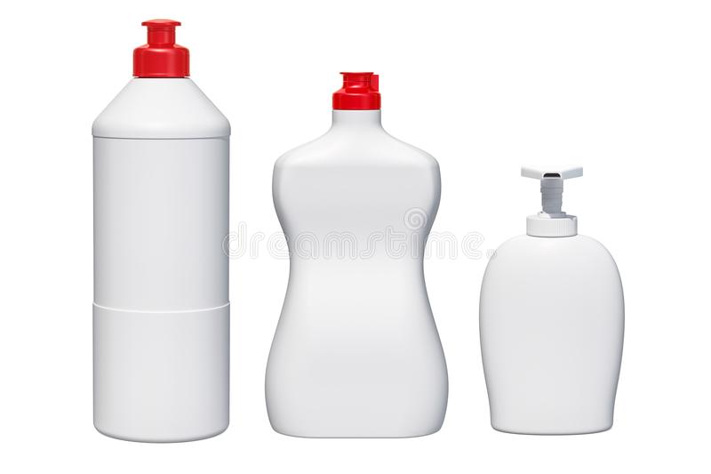 Egzaminu próbnego klingerytu butelki Detergent, cleaning produkty 3 d czynią ilustracji