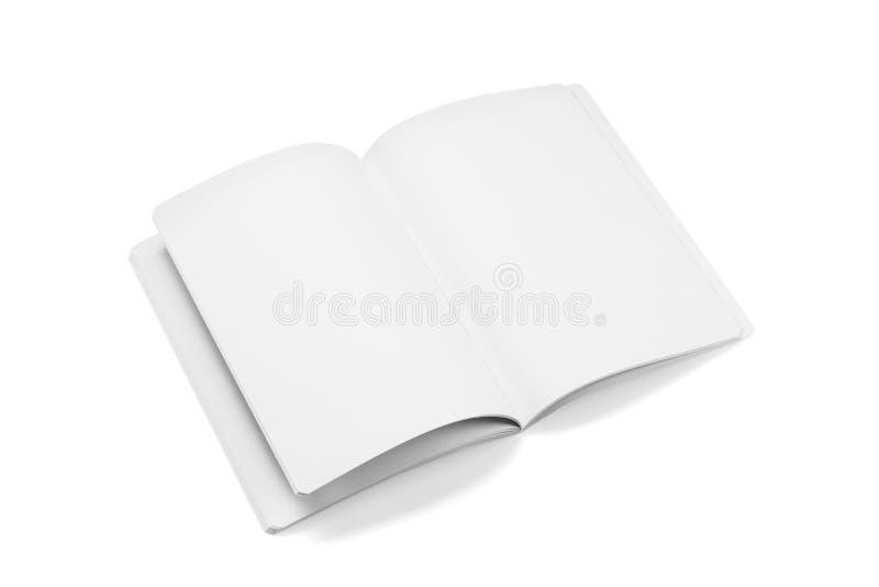 Egzaminu próbnego magazyny, książka lub katalog na bielu stołu tle, zdjęcie stock
