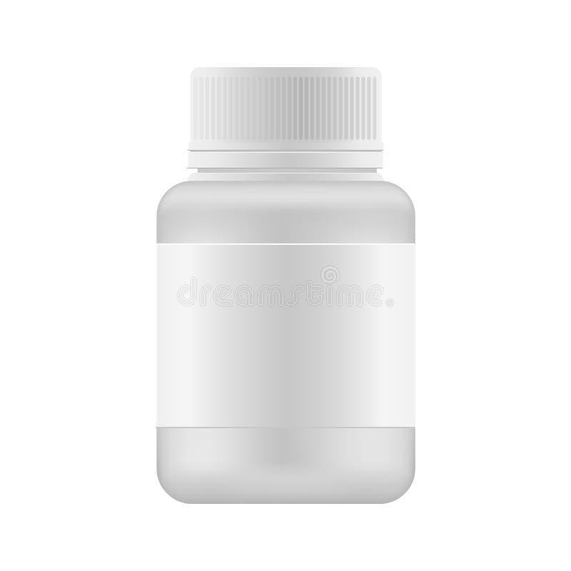 Egzaminu próbnego up pakunek dla lekarstwa: pastylki, witamina, nadprogram, antybiotyk lub Aspirin, Wektorowy medycyny pudełko ilustracji
