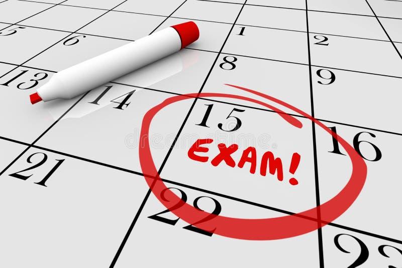 Egzaminu testa szkoły Checkup lekarki Definitywny Fizyczny kalendarz ilustracja wektor