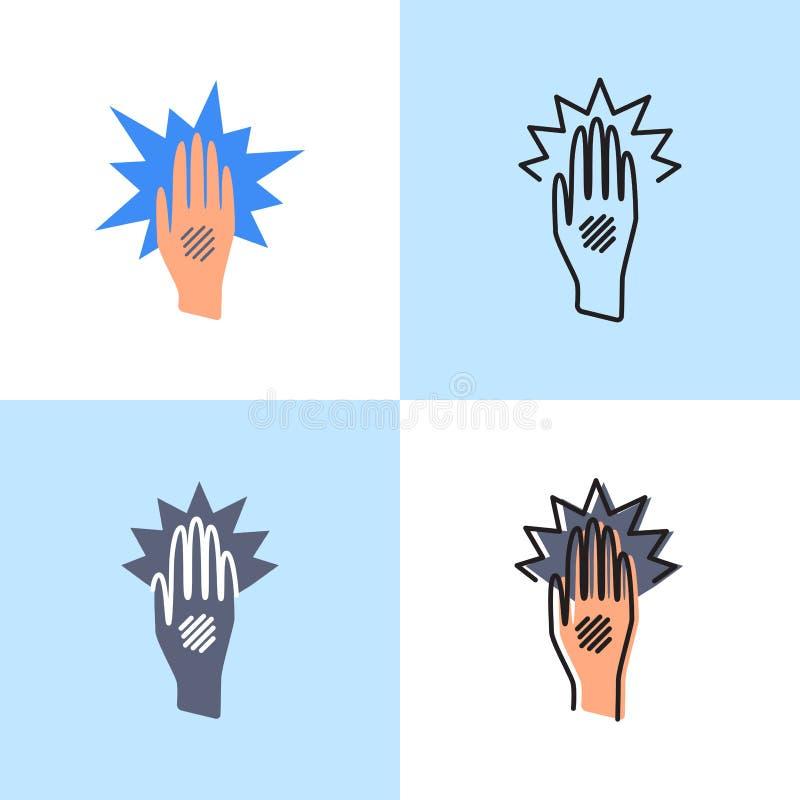 Egzemy ręki ikona ustawiająca w płaskim i kreskowym stylu ilustracji