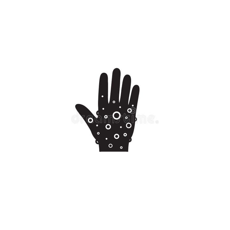 Egzemy ręki skóry ikona liniowy stylu znak dla mobilnego poj?cia i sie? projekta Nierozważna ręka, alergicznej reakcji konturu we royalty ilustracja