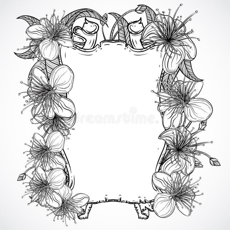 Egzotów kwiaty i tasiemkowy sztandar Czarny i biały tropikalni kwiaty i liście elementy Rocznika ręka rysujący wektorowy illust royalty ilustracja