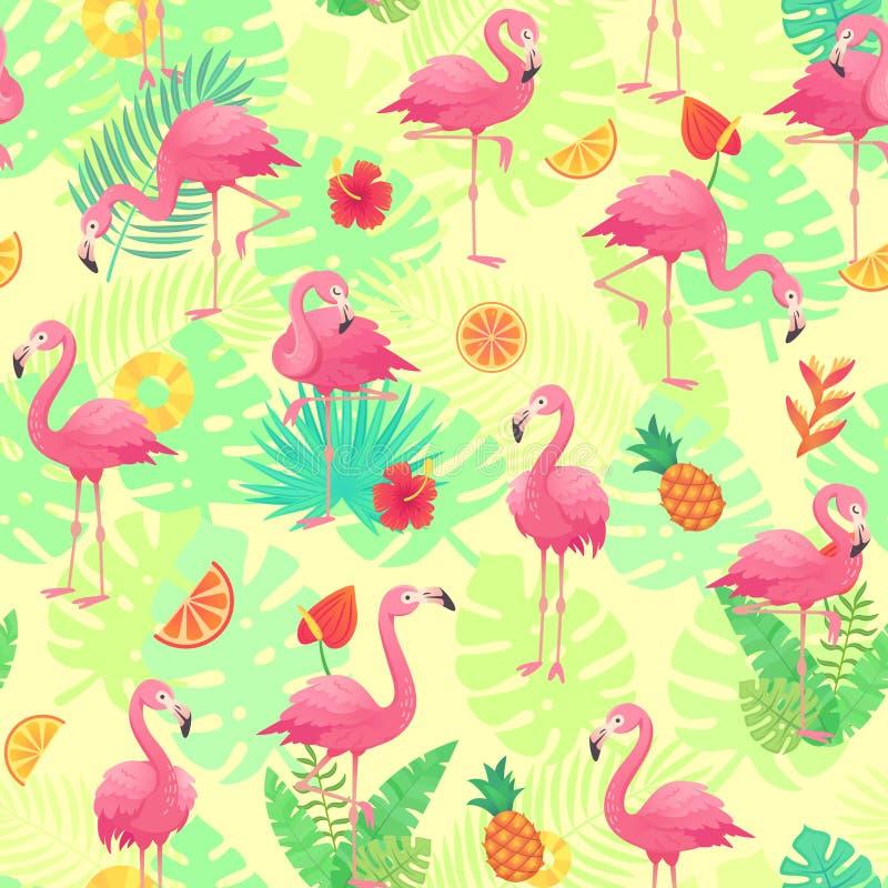 Egzotów różowi flamingi, tropikalne rośliny i dżungla, kwitną monstera i palmy liście Zwrotnika flaminga kreskówka bezszwowa ilustracji