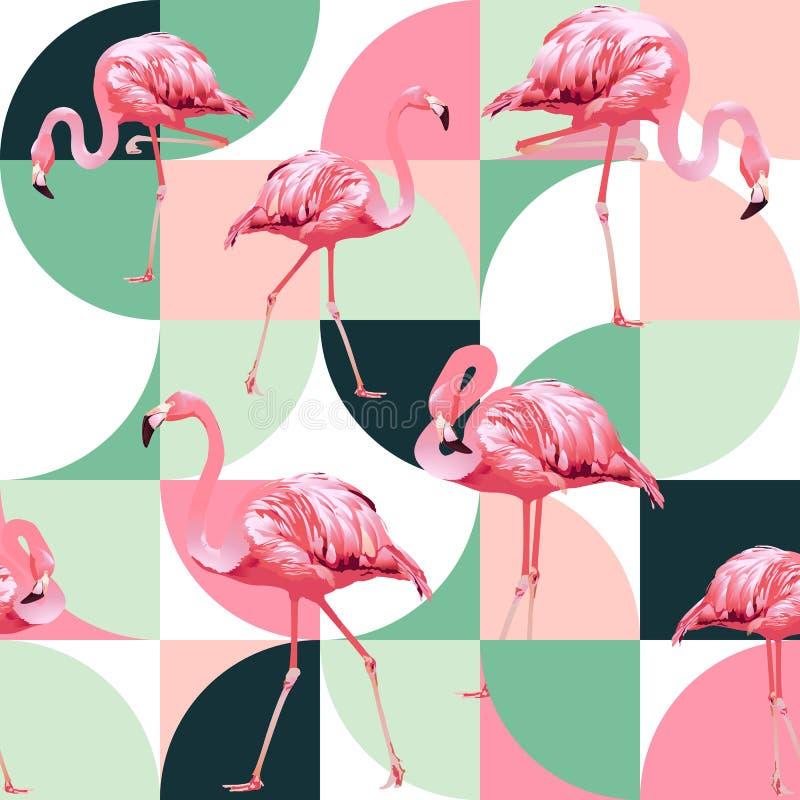 Egzota plażowy modny bezszwowy wzór, patchwork ilustrujący kwiecisty wektorowy tropikalny banan opuszcza Dżungla różowi flamingi ilustracji