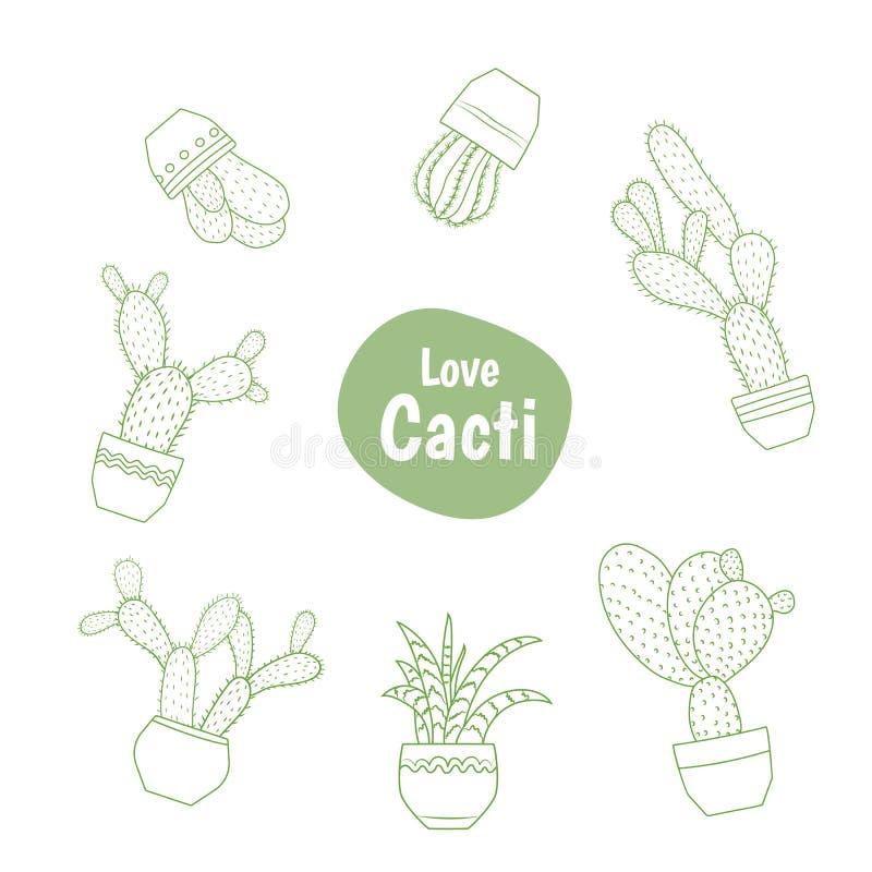 Egzota zielony kaktusowy sukulent odizolowywający kreskowy projekt ilustracji
