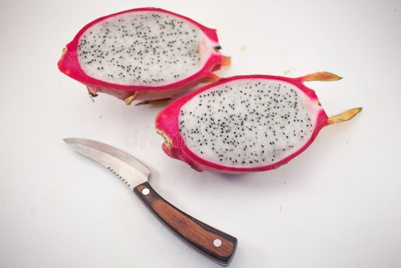 Egzotyczna dojrzała biała Pitaya lub smoka owoc Czerwony Pitahaya tropikalny fotografia stock