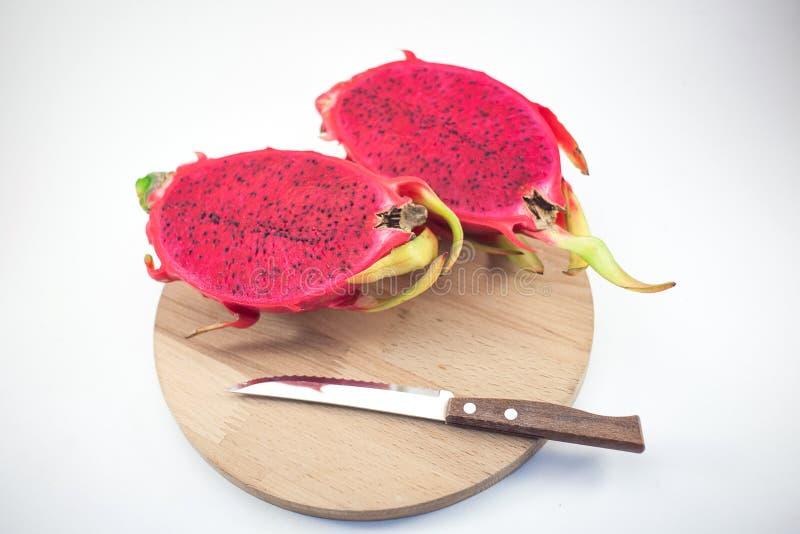 Egzotyczna dojrzała różowa Pitaya lub smoka owoc Czerwony Pitahaya tropikalny f obraz stock