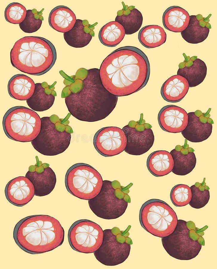 Egzotyczna mangostan owoc na żółtym tle ilustracji