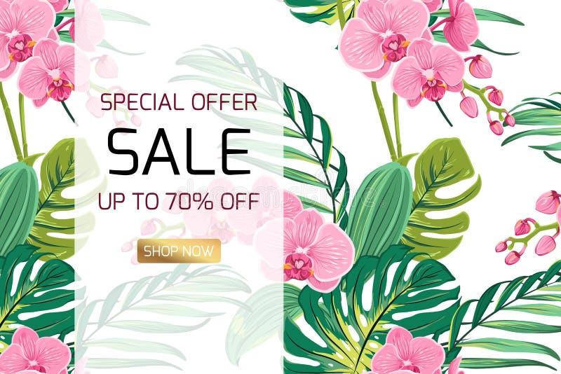 Egzotyczna orchidea kwitnie dżungla liści sprzedaży sztandar royalty ilustracja