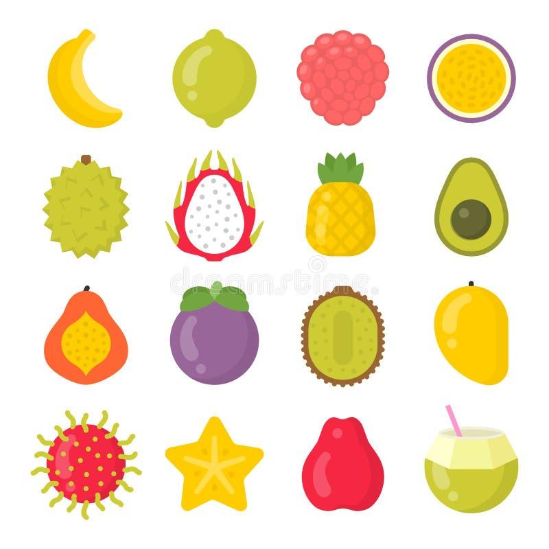 Egzotyczne owoc odizolowywali kolorowe wektorowe ikony ustawiać ilustracja wektor