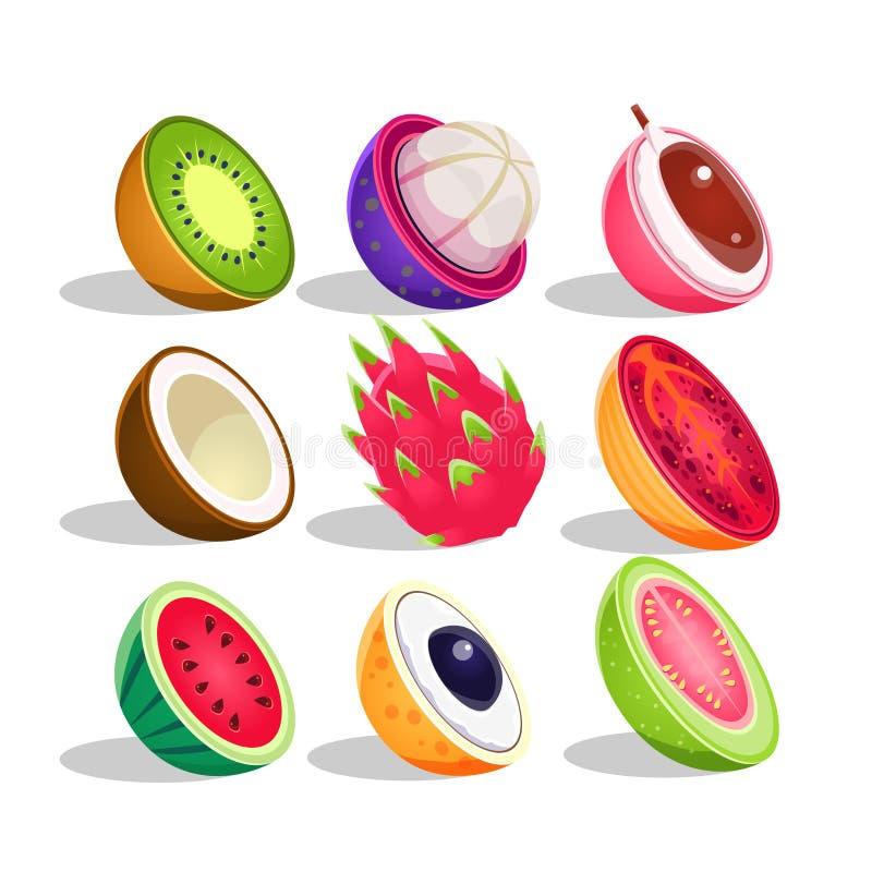 Egzotyczne owoc Pokrajać W Przyrodnim Ustawiającym Jaskrawe ikony ilustracji