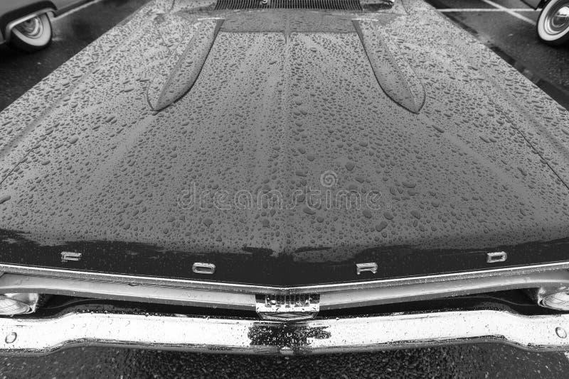 Egzotycznego rocznika klasyczny motorcar na pokazie na deszczowym dniu fotografia stock