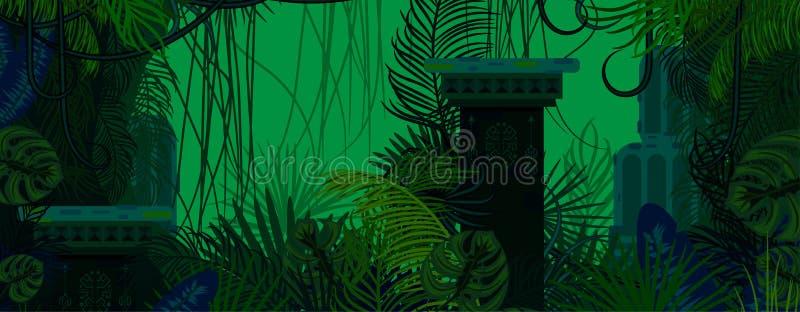 Egzotyczni drewna zielenieją dzikiego natury tło ilustracji