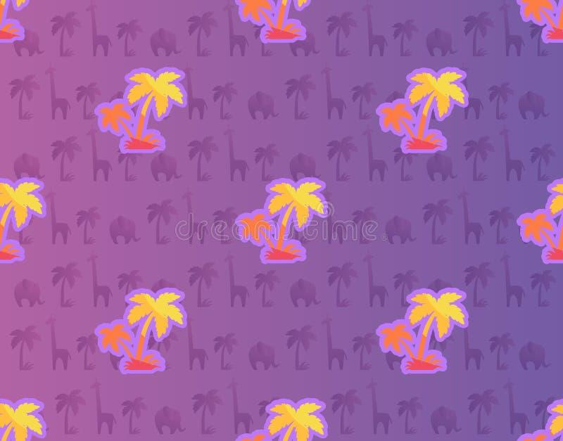 Egzotyczni drzewka palmowe z Afrykańskimi roślina i zwierzę ilustracja wektor