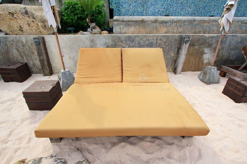 Egzotyczni Tropikalni Plażowi łóżka zdjęcia royalty free