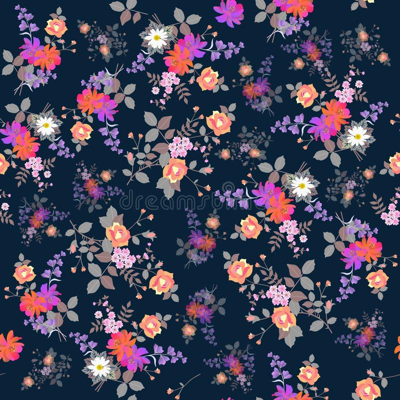 Egzotyczny bezszwowy kwiecisty tło Bukiety ogrodowi kwiaty odizolowywający na zmroku - błękitny tło Druk dla tkaniny ilustracja wektor