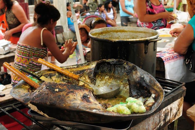 Egzotyczny jedzenie w Iquitos w Amazonia obrazy royalty free