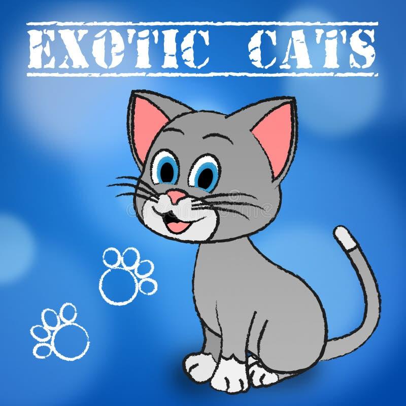Egzotyczny Koci I koty Wskazują Unikalnego Puss ilustracja wektor