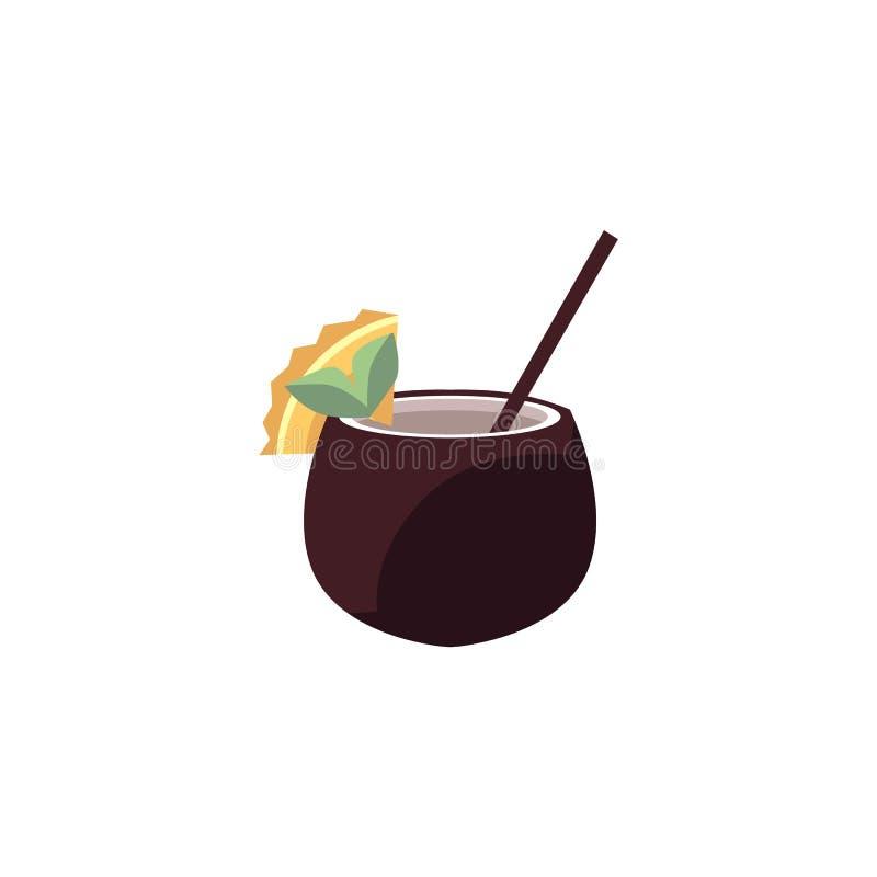 Egzotyczny koktajl w koksie tropikalny napój dekorujący z owocowym plasterkiem i słoma odizolowywająca na białym tle - ilustracji