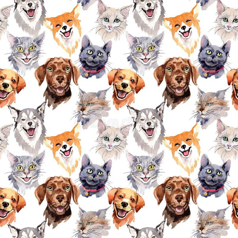Egzotyczny kota i psa dzikiego zwierzęcia wzór w akwareli projektuje royalty ilustracja