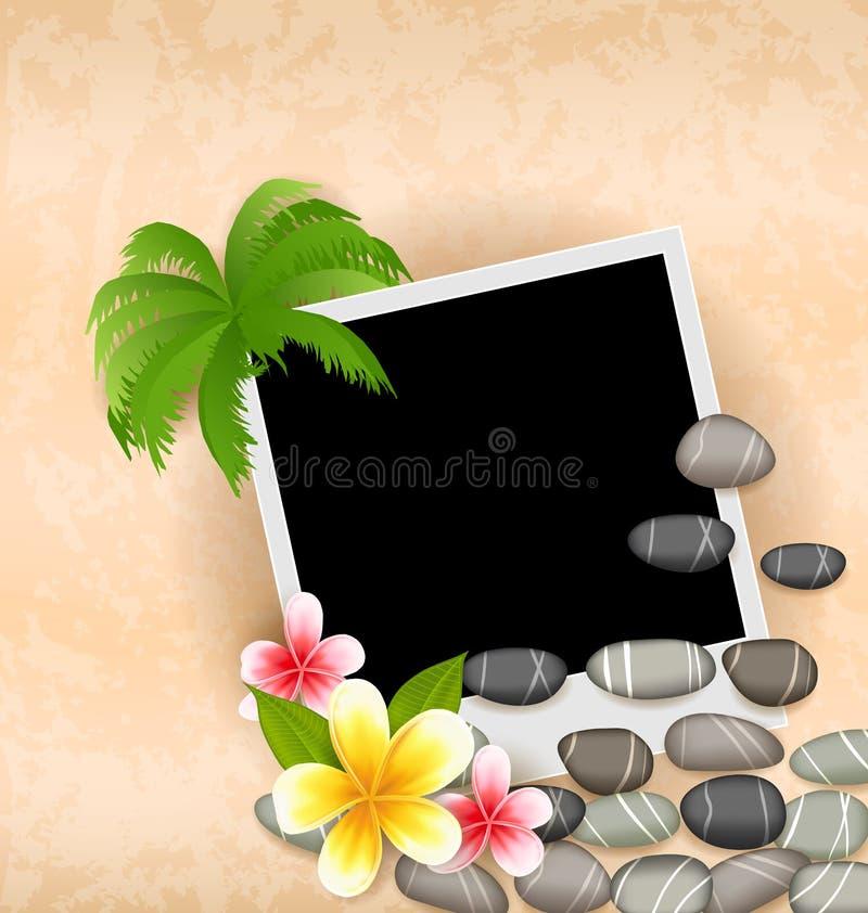 Egzotyczny naturalny tło z pustą fotografii ramą ilustracja wektor