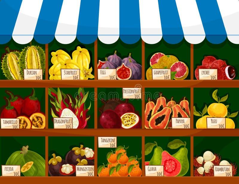 Egzotyczny owoc gabloty wystawowej budka owoc sklepu stojak royalty ilustracja