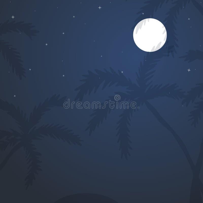 Egzotyczny tropikalny krajobraz z księżyc nocnym niebem, drzewka palmowe royalty ilustracja