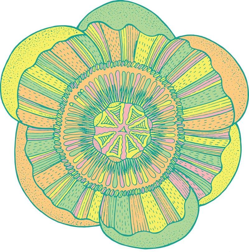 Egzotyczny tropikalny kwiatu mandala - odosobniony element wektorowy graphi ilustracja wektor