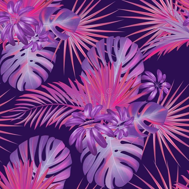 Egzotyczny tropikalny vrctor tło z hawajczyk roślinami ilustracji