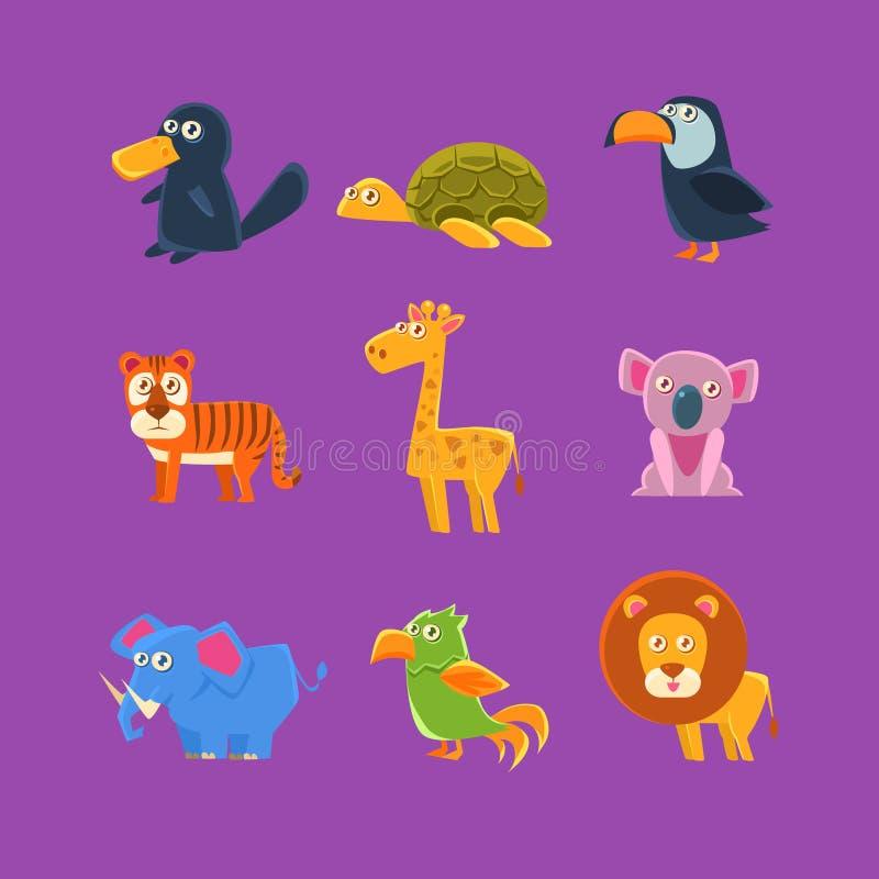 Egzotyczny zwierzę faun set ilustracji