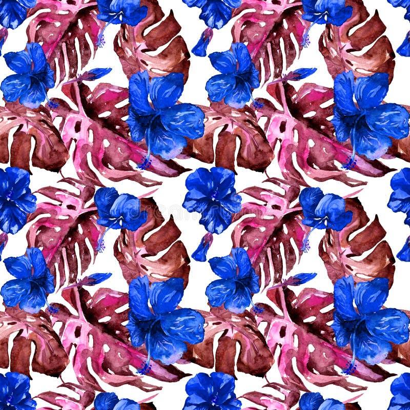 egzotycznych kwiatów Akwarela bezszwowy wzór ilustracji